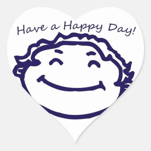 Tenga una cara feliz del día feliz calcomanía de corazón