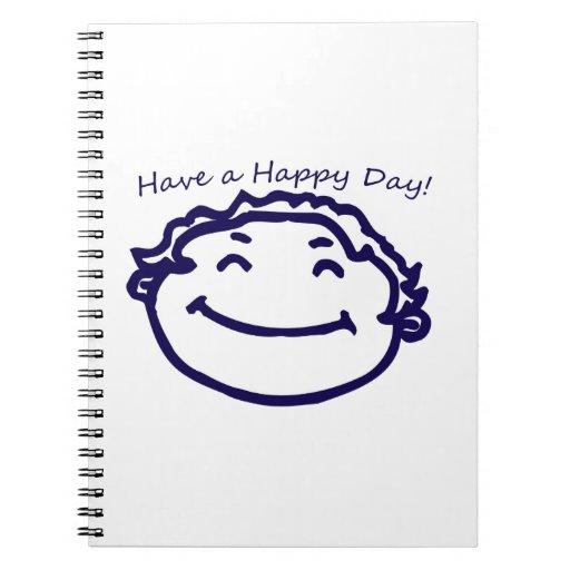 Tenga una cara feliz del día feliz spiral notebook
