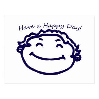 Tenga una cara feliz del día feliz tarjetas postales