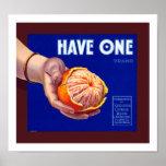 Tenga una etiqueta anaranjada del vintage impresiones