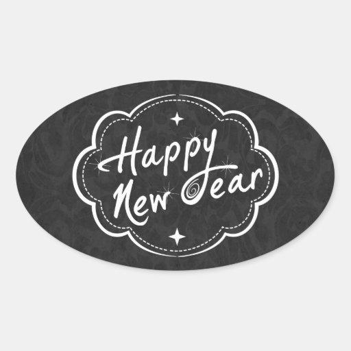 Tenga una Feliz Año Nuevo Calcomanía De Óval