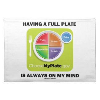 Tenga una placa llena está siempre en mis grupos manteles individuales