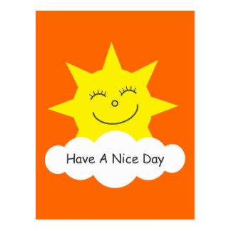 Tenga una postal feliz del naranja del sol del dib