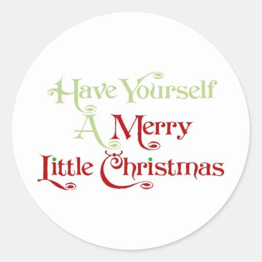 Tenga usted mismo los Felices pequeños Navidad Pegatina Redonda
