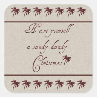 Tenga usted mismo navidad de un chulo de Sandy Pegatina Cuadrada