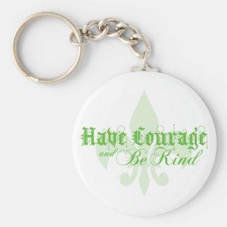 Tenga valor y sea - flor de lis - verde bueno llavero redondo tipo pin