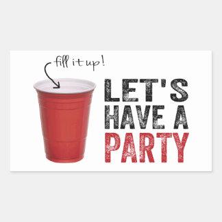 ¡Tengamos un fiesta! Taza roja divertida Pegatina Rectangular