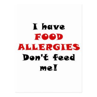 Tengo alergias alimentarias no me alimento postales