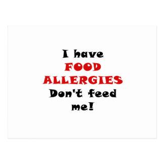 Tengo alergias alimentarias no me alimento tarjetas postales