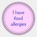 Tengo alergias alimentarias pegatinas redondas