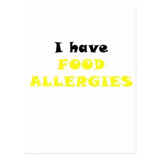 Tengo alergias alimentarias postales