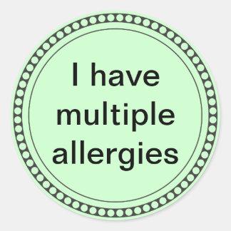Tengo alergias múltiples pegatina redonda