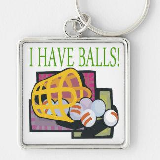 Tengo bolas llavero cuadrado plateado
