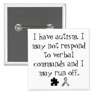 Tengo botón del autismo pin cuadrado