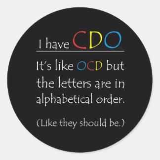 Tengo CDO. Pegatina Redonda