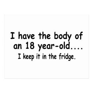 Tengo el cuerpo de dieciocho años postal