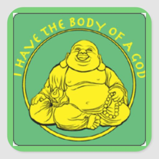 Tengo el cuerpo de dios pegatina cuadrada