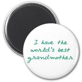 Tengo el World' la mejor abuela de s (verde) Imán Redondo 5 Cm