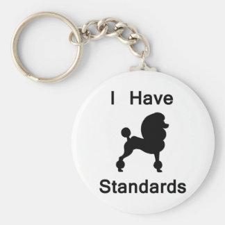 Tengo estándares (el caniche) llavero redondo tipo pin