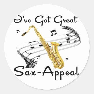 Tengo gran Saxofón-Súplica Pegatinas Redondas