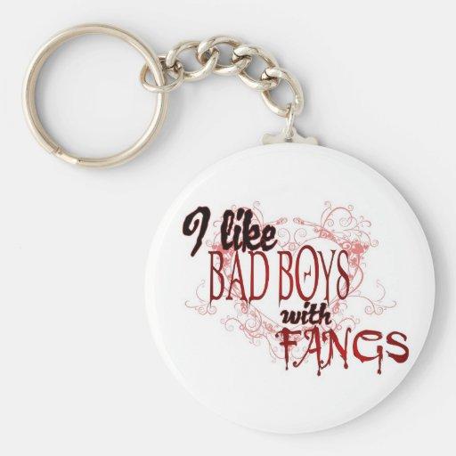 Tengo gusto de Badboys con los colmillos Llavero Redondo Tipo Pin