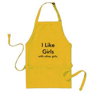 Tengo gusto de chicas, con otras muchachas delantal
