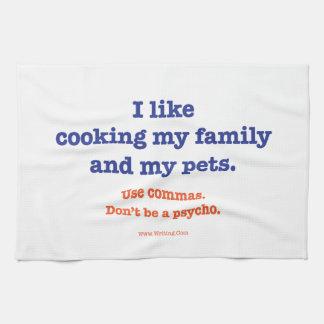 Tengo gusto de cocinar mi familia y mis animales toallas