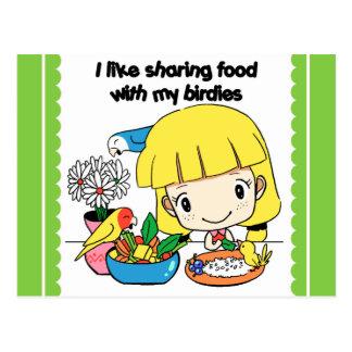Tengo gusto de compartir la comida con mis postales