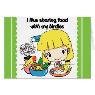 Tengo gusto de compartir la comida con mis tarjeta de felicitación