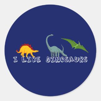 Tengo gusto de dinosaurios azules pegatina redonda