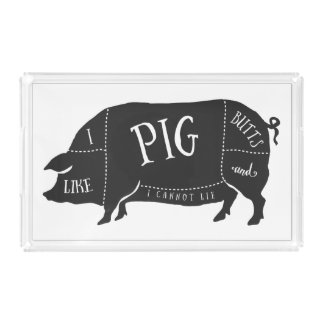 Tengo gusto de extremos del cerdo y no puedo bandeja rectangular