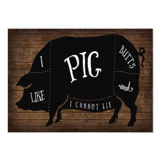 """Tengo gusto de extremos del cerdo y no puedo invitación 5"""" x 7"""""""