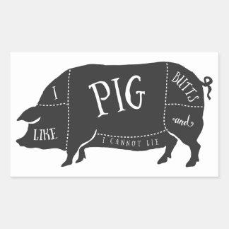 Tengo gusto de extremos del cerdo y no puedo rectangular pegatina