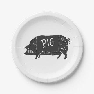 Tengo gusto de extremos del cerdo y no puedo platos de papel