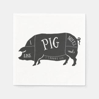 Tengo gusto de extremos del cerdo y no puedo servilleta desechable