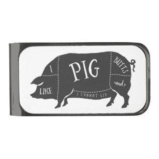 Tengo gusto de extremos del cerdo y no puedo clip para billetes metalizado