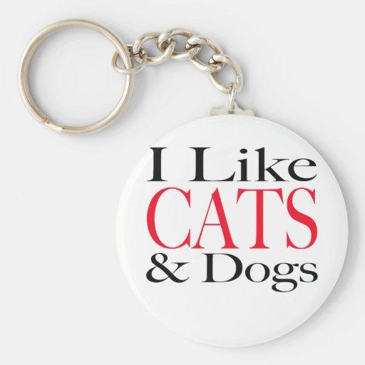 Tengo gusto de GATOS y de perros Llavero Personalizado