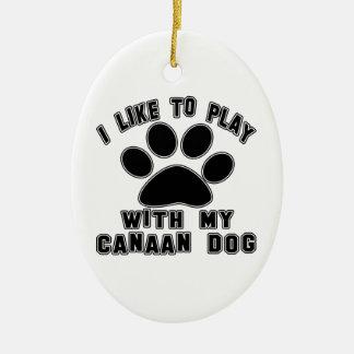 Tengo gusto de jugar con mi Canaan Adorno Ovalado De Cerámica