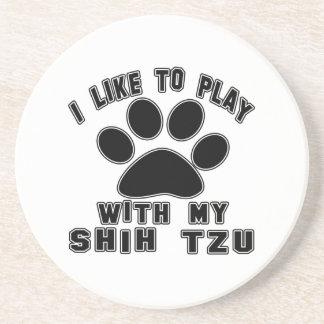 Tengo gusto de jugar con mi Shih Tzu. Posavasos Cerveza