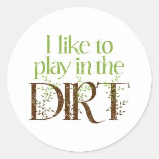 Tengo gusto de jugar en cultivar un huerto pegatina redonda