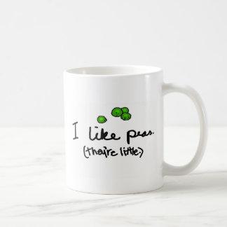 Tengo gusto de los guisantes tazas de café