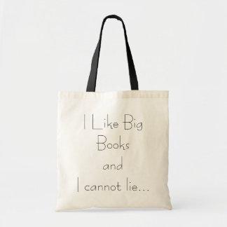 Tengo gusto de los libros grandes y no puedo menti bolsa lienzo