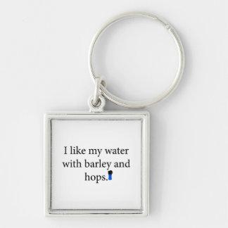 Tengo gusto de mi agua con la cebada y espero llavero cuadrado plateado