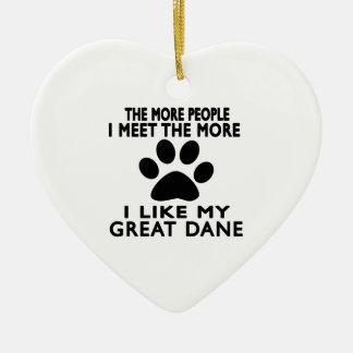 Tengo gusto de mi gran danés adorno navideño de cerámica en forma de corazón