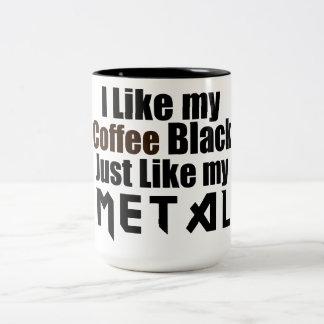 Tengo gusto de mi negro del café apenas como mi taza de dos tonos