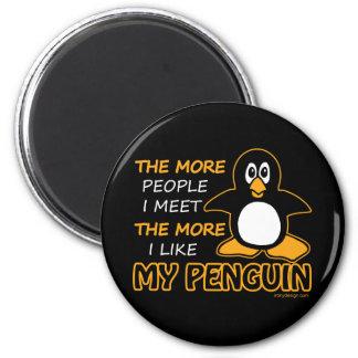 Tengo gusto de mi pingüino imán redondo 5 cm