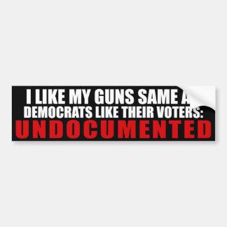 Tengo gusto de mis armas iguales que Demócratas co Etiqueta De Parachoque