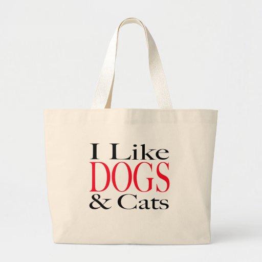 Tengo gusto de PERROS y de gatos Bolsa Tela Grande
