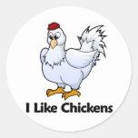 Tengo gusto de pollos pegatina redonda