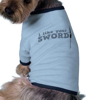 Tengo gusto de su espada camiseta con mangas para perro